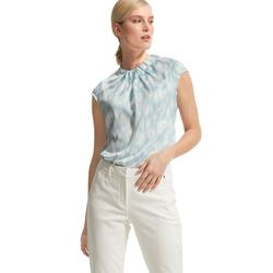 Comma Klassische Bluse Comma Highneck Bluse mit Print grün