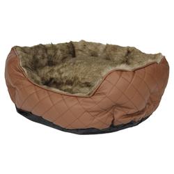 Pettimania Hundebett rund Leder mit Fellbezug braun, Maße: 75 x 55 x 23 cm