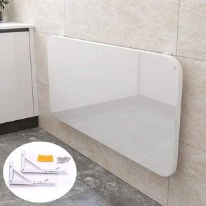 Weiß Wandklapptisch-Tische-Wandtisch,mit 2 Halterungen Klapptisch Wand Küche Wandklapptisch,Klavierlackierverfahren Wandmontagetisch Schreibtisch Computertisch,mit Zubehör (120x60cm/47.3x23.6in)