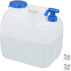 Relaxdays Wasserkanister mit Hahn, Weithals Schraubdeckel, Trinkwasserkanister Camping, 23L, Kunststoff, BPA-frei, weiß