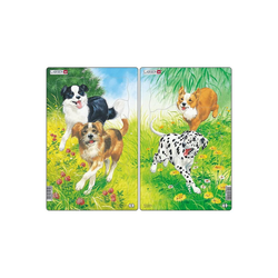 Larsen Puzzle 2er-Set Rahmen-Puzzle, 10 Teile, 28x18 cm, Hunde, Puzzleteile