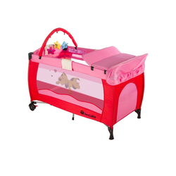 tectake Baby-Reisebett Kinderreisebett Hund mit Wickelauflage rosa