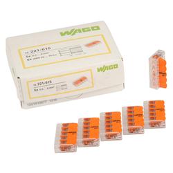 Wago Wagoklemme 221-615, 5-Leiter-Klemme, Nennquerschnitt 6mm², 15er Pack