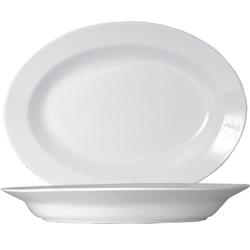 2 x Napoli Uni weiß Platte oval tief 48cm * Saturnia