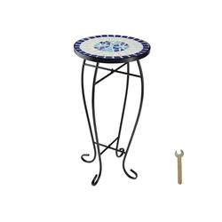 tectake Balkonhängetisch Balkontisch Blumenhocker Mosaik (1-St) blau