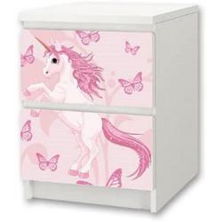STIKKIPIX Möbelfolie NS02, Einhorn Möbelsticker/Aufkleber für Kinderzimmer Kommode/Nachttisch MALM von IKEA - Möbel Nicht Inklusive