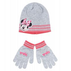 Disney Minnie Set Mütze und Handschuhe, Gr. 52-54, Grau, 52