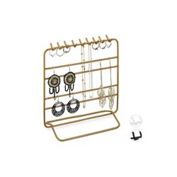 relaxdays Schmuckständer Schmuckständer Ketten und Ohrringe goldfarben