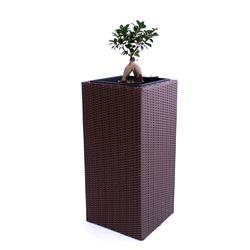 Blumenkübel, Übertopf Polyrattan Säule 30x30x80cm braun.