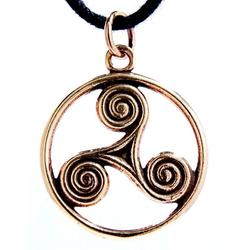 Kiss of Leather Kettenanhänger Triskelen Anhänger Bronze Triskel Dreier Spirale Triskele Kelten Amulett