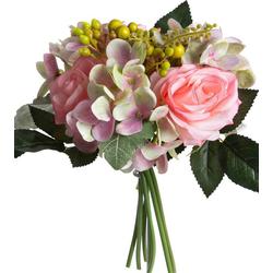 Kunstblume Rosen-Hortensienstrauß Rose, Botanic-Haus, Höhe 28 cm