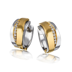 goldmaid Paar Creolen 925/- Silber 16 Brill. 0,10 ct. P2/H bunt