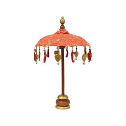 Oriental Galerie Sonnenschirm Kleiner Tischschirm aus Indonesien Rot-Orange mit Muster, Handarbeit