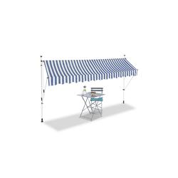 relaxdays Klemmmarkise Klemmmarkise blau weiß 350 cm x 120 cm x 300 cm