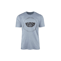 Sinus Art T-Shirt Vintage Herren T-Shirt Kristallschale blau L