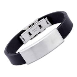 Kautschuk Armband mit matter Edelstahlplatte 21cm