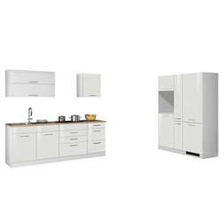 Weiß Küchenzeile in Hochglanz 380 cm breit (9-teilig)