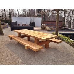 Casa Padrino Gartenmöbel Set Rustikal Tisch + 2 Garten Bänke 180 x ca. 155 x H80 - Eiche Massivholz