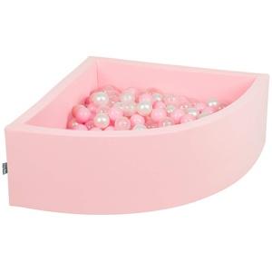 KiddyMoon Bällebad 90X30cm/200 Bälle Bällepool Mit Bällen ∅ 7Cm Für Babys Kinder Viertel Eckig, Rosa:Rosa/Perle/Transparent