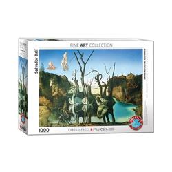 EUROGRAPHICS Puzzle Schwäne spiegeln Elefanten von Dalí 1000 Teile, Puzzleteile bunt