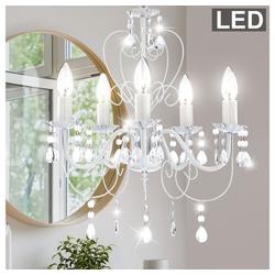 etc-shop Kronleuchter, Eleganter Kronleuchter Decken Lüster Pendel Lampe weiß im Set inklusive LED Leuchtmittel