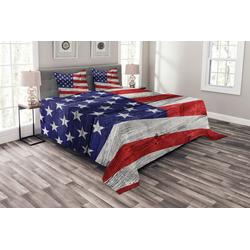 Tagesdecke Set mit Kissenbezügen Waschbar, Abakuhaus, Patriotisch America Patriotic Day 220 cm x 220 cm