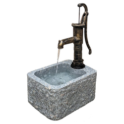 Dehner Gartenbrunnen Bregenzmit Wasserpumpe, 98 x 30 x 65 cm, Granit