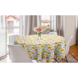 Abakuhaus Tischdecke Kreis Tischdecke Abdeckung für Esszimmer Küche Dekoration, Regenschirm Blätter fallen und Sonnenschirme
