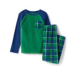 Fleece-Pyjama mit Tasche - 146/152 - Grüner Anker Karo