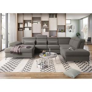 sit&more Wohnlandschaft, mit Sitztiefenverstellung und Federkern, wahlweise mit Bettfunktion und Bettkasten, jeweils inkl. 3 Nierenkissen braun