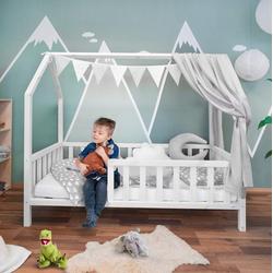 Alcube Hausbett FELIX 70x140 I 80x160, Stabiles Kinderbett aus massivem Holz mit Rausfallschutz und Lattenrost weiß 70 cm