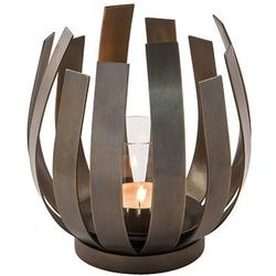 Fink Windlicht ORFEA (1 Stück), aus Edelstahl inkl. Glaszylinder, verspielt und gradlinig braun Ø 18,50 cm x 20 cm