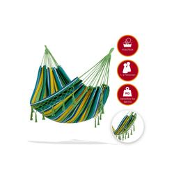 KESSER Hängematte, Hängematte 300kg belastbar 320x150cm max. Belastbarkeit 300 kg 1-2 Personen atmungsaktiv Fransen wetterfest Camping Garten Tuchhängematte Mehrpersonen grün