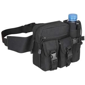 Daliuing Herren Hüfttasche Multifunktional taktisch Fanny Bag wasserdicht klein Sport Taille Pack Reisetasche mit Wasserflasche, Schwarz, 19 * 16 * 9cm