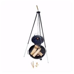 acerto® Feuerstelle acerto® Ungarischer Gulaschkessel 10L + Dreibein-Gestell 180cm + Feuerschale 80cm + Kaminholz Buche