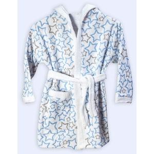 Ti TIN - frottee Kinderbademantel, 80 cm   Bademantel für Kinder bis 1 Jahr, aus 100% Baumwolle, Babybademantel mit Sternendruck, blau