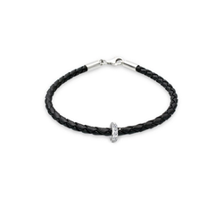 Elli Armband Leder mit Bead Kristalle 925 Silber 20 cm