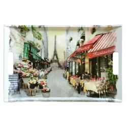Lashuma Tablett Paris, Melamin, Bedrucktes Geschirrtablett, Desserttablett eckig mit Griffen bunt 47 cm x 31 cm x 3 cm