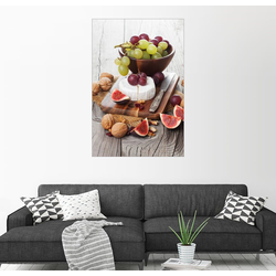 Posterlounge Wandbild, Camembertkäse mit Feigen, Nüssen und Trauben 20 cm x 30 cm