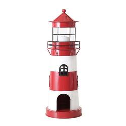 BOLTZE Teelichthalter Laterne LEUCHTTURM rot weiß aus Metall Windlicht maritim Strandhaus Deko - KLEIN