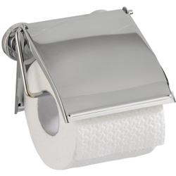 WENKO Cover Power-Loc Toilettenpapierhalter, Toilettenrollenhalter mit Schutzdeckel gegen Staub, Farbe: Chrom