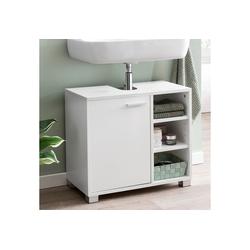 FINEBUY Waschbeckenunterschrank FB51390 Waschbeckenunterschrank 60 x 55 x 32 cm weiß Badschrank mit Tür Holz Unterschrank Waschbecken Badezimmer Waschtischunterschrank mit Fächern Badezimmerschrank Bad-Möbel mit Ablage
