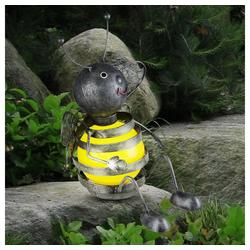 etc-shop LED Dekofigur, Solar Biene außen Biene Deko Gartenfiguren für Außen Metall, Akku schwarz gelb, 1x LED 0,06 Watt, H 25 cm, Garten