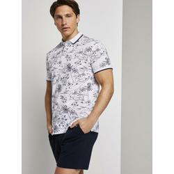 TOM TAILOR Denim Poloshirt Poloshirt mit tropischem Hawaii-Print weiß M