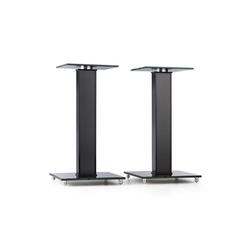 Auna BS-03S-BK Lautsprecher-Ständer Paar Aluminium Glas MDF Kabelkanal Spikes Lautsprecherständer schwarz