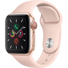 Apple Watch Series 5 (GPS + Cellular) 40mm Aluminiumgehäuse Gold, Sportarmband Sandrosa