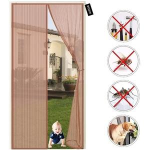 Fliegengitter Balkontür, 185x240cm(72x94inch) , Magnetvorhang ist Ideal für Balkontür Wohnzimmer und Terrassentür, Kinderleichte Klebemontage Ohne Bohren, Schwarze Streifen - Braun