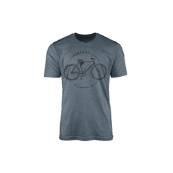 Sinus Art T-Shirt Vintage Herren T-Shirt Fahrrad blau M