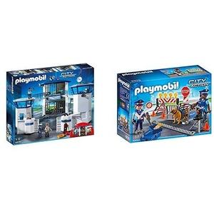 Playmobil 6872 - Polizei-Kommandozentrale mit Gefängnis &  6878 - Polizei-Straßensperre