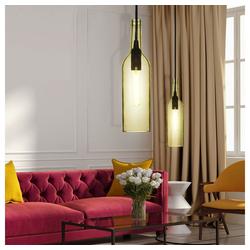 etc-shop Pendelleuchte, 2er Set Hänge Pendel Leuchten Flaschen Design Beleuchtung Wohn Ess Zimmer Decken Hänge Lampen gelb